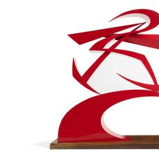 Red lacquer and cellulose nitrate on brass sculpture by Giacomo Balla (Italian, 1871–1958), titled Linee di forza del pugno di Boccioni II (1968), numbered 5/9 (est.  $50,000-$70,000).