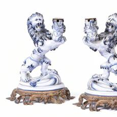 Pair of Faience Rampant Lion Candlesticks, Emile Galle, Nancy, Circa 1875