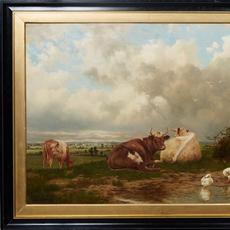 This oil on canvas painting by Charles Coumont (Belgian, 1822-1889), titled Animals in Landscape, unsigned and housed in a gilt and ebonized frame, has an estimate of $1,000-$1,500.