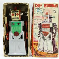 Yoshiya Chief Robotman battery-op tin toy in the box, made in Japan around 1955, graded C8+, with minimal signs of wear, bright chrome and near-mint paint (est.  $600-$900).