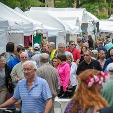 Crowd at 2018 Promenade of Art in Arlington Heights.