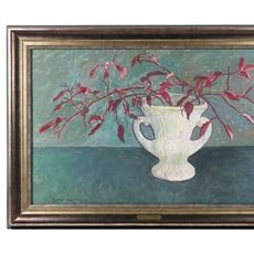 Oil on paper titled Autumn Leaves by Gershon Benjamin (1899-1985), dated 1966.