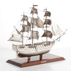 Italian parcel gilt sterling silver model of the H.M.S.  Victory from the second half 20th century, 18 inches tall by 23 inches long, silver weight approx.  37 oz.  troy (est.  $1,500-$2,000).