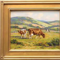 FRANCIS STILLWELL DIXON (1879 - 1967) COWS IN THE FIELD Oil on board, 8 x 10 inches/Signed lower left