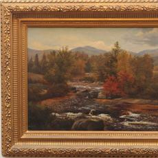 Sylvester Phelps Hodgdon (American 1830 - 1906): River Landscape in Autumn, 1857 - Oil on Canvas, 13.5 x 19.75 inches / Signed lower center