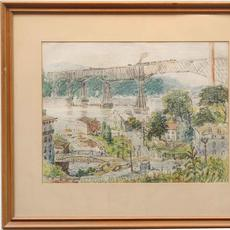 REYNOLDS BEAL (AMERICAN 1866/67 - 1951) POUGHKEEPSIE RAILROAD BRIDGE Crayon on Paper, 12 x 15.25 inches / Signed lower left