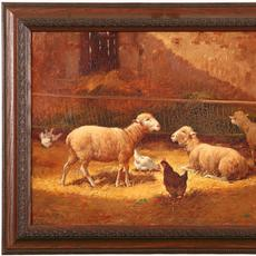 Charles H Clair (French 1860 – 1930) ( aka Charles Clair ): Sheep in the Barn - Oil on canvas, 15 x 18 inches / Signed lower left