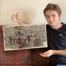 One of the works Vlad Batagui will discuss is the seventh-century mural painting Eight Men Ferrying a Statue of the Buddha.  Photomontage courtesy of Alexis Boo '22.  Tour