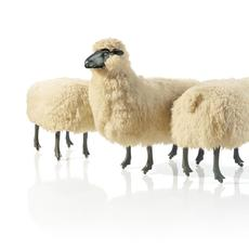 François - Xavier Lalanne (French, 1927 – 2008), Moutons de l aine (Woolen sheep) (detail), 1968 – 71.  Patinated bronze, wool, aluminum, wood; sheep with heads: 35 x 36 1/2 x 18 in.; ottomans: 21 1/4 x 31 x 18 in.  Private collection Image: © 2016 Christie's Images Limited; Artwork: © 2020 Artists Rights Society (ARS), Ne w York / ADAGP, Paris