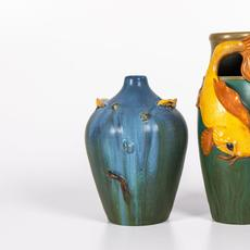 Two Ephraim pottery vases produced in the 20th century by Laura Klein, the larger one being 12 inches tall, both signed on the bottom, being sold as one lot (est.  $80-$120).