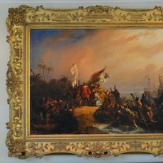 Stunning 19th century oil on canvas painting by Nicolaas Pieneman (Dutch, 1809-1860), titled Columbus Discovers America, signed lower right, 63 inches by 76 inches (est.  $20,000-$30,000).