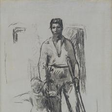 Jean-François Millet, Paysan debout et Enfant, charcoal on canvas, circa 1871-72.  Estimate $40,000 to $60,000.