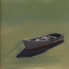 Moored Skiff by Anne Packard, part of Eldred's 16th Annual Contemporary Paintings Auction.