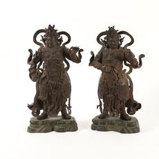 Pair of Ming Dynasty Chinese Lacquered Bronze Guardian Figures