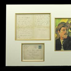 Two-page letter handwritten in French and signed by the renowned French artist Paul Gauguin (1848-1903), matted, with a reproduction of a Gauguin self-portrait (est.  $15,000-$17,000).