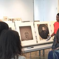 Photography curator Makeda Best teaches a class in the Art Study Center at the Harvard Art Museums.