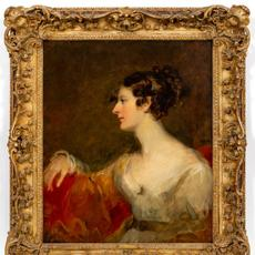Oil on canvas Portrait of Miss Kent by Sir Thomas Lawrence (British, 1769-1830), unsigned, 30 ¼ inches by 25 inches (sight, less frame) ($25,000).