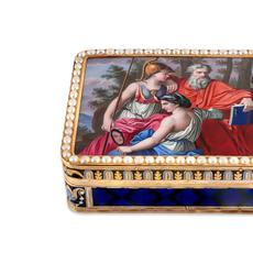 This wonderful Swiss enameled 18kt gold musical snuff box by Jean-Georges Remond & Compagnie, circa 1800, more than doubled its estimate of $20,000-30,000 to sell for $70,000.