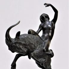 Bronze statue of a classical nude woman with a raised arm on the back of a rearing ram by Walter Sebastian Resch (German, 1889-1962), overall 18 ½ inches tall (est.  $1,500-$2,500).