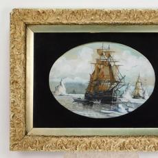 Arctic maritime gouache on paper by William Bradford (Mass./Calif., 1823-1892), of three large sailing vessels between icebergs and frozen waters, and three smaller boats (est.  $2,000-$3,000)