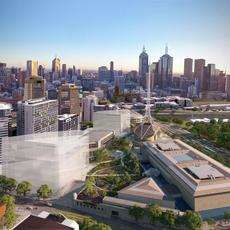 A bird's eye view of the Melbourne Arts Precinct from Southbank Boulevard facing north (artist impression) .  HASSELL + SO - I L