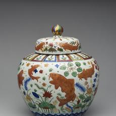 Lidded jar with design of a lotus pond, China; Jingdezhen, Jiangxi province Ming dynasty (1368–1644), Reign of the Jiajing emperor (1522–1566)