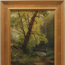 HENDRIK-DIRK KRUSEMAN VAN ELTEN (DUTCH-AMERICAN 1829 - 1904) SPRING STREAM Oil on board, 20 x 16 inches/Signed lower left