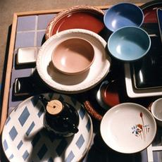 Colorful pottery for advertisement, n.d.  Edith and Brian Heath Collection.  Environmental Design Archives, UC Berkeley