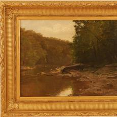 George Hetzel (American 1826 – 1899): Lawrence County, PA - Oil on canvas, 13.5 x 22.5 inches/Signed lower left
