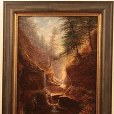 James Hope (American ca.  1818 – 1892): Watkins Glen Rainbow Falls - Oil on canvas, 15.5 x 11.5 inches/Signed lower left