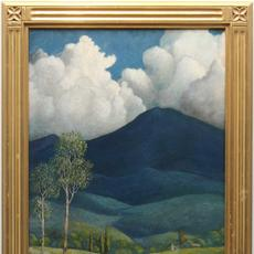 PETER HURD (AMERICAN 1904 - 1984) BLUE MOUNTAIN Oil on board, 22 x 17.5 inches/Signed lower left