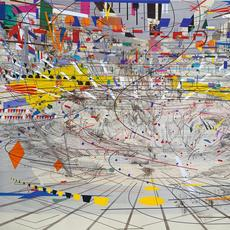 Julie Mehretu, Stadia II, 2004, ink and acrylic on canvas, 108 × 144 in., Carnegie Museum of Art, Pittsburgh, gift of Jeanne Greenberg Rohatyn and Nicolas Rohatyn and A.  W.  Mellon Acquisition Endowment Fund 2004.50, © Julie Mehretu, photograph courtesy of the Carnegie Museum of Art