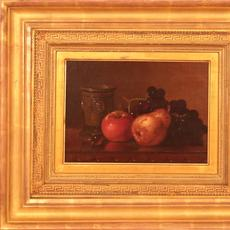 Edward Chalmers Leavitt (American 1842 - 1904): Pear, Apple, Grapes and Clay Cup - Oil on canvas 9.5 x 13.5 inches/Signed lower left