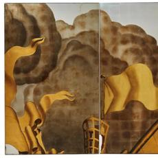 Tryptych of panels from the 'Rape of Europa' mural.