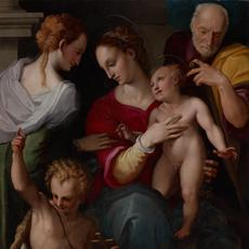 Holy Family with the Mystic Marriage of Saint Catherine, c.  1560.  Tommaso Manzuoli, called Maso da San Friano (Italian, 1531–1571).  Oil on panel; 148 x 103 cm.