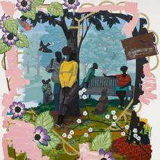 "KERRY JAMES MARSHALL, ""Vignette 19,"" 2014 (acrylic on PVC, 71 3/4 by 60 inches / 182.2 by 152.4 cm).  Estimate $6.5 million-$7.5 million.  Sold for $18,488,000 with fees."
