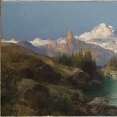 Thomas Moran.  A Snowy Mountain Range (Path of Souls, Idaho), 1896.  Oil on canvas, 14 x 27 in.  Denver Art Museum: Roath Collection, 2013.109