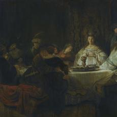 Rembrandt Harmensz van Rijn, Samson Proposing the Riddle at the Wedding Feast, 1638.  Oil on canvas, 126 x 175 cm © Gemäldegalerie Alte Meister, Staatliche Kunstsammlungen Dresden