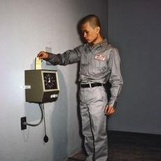 Tehching Hsieh (b.  1950, Nan-Chou, Taiwan); One Year Performance 1980–1981, Punching the Time Clock; 1980–1981; photograph; © Tehching Hsieh 1979; image courtesy the artist and Sean Kelly Gallery, New York