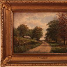 WILLIAM MCKENDREE SNYDER (AMERICAN 1848 - 1930) INDIANA BEECH WOODS Oil on canvas, 11.5 x 17.25 inches/Signed lower right
