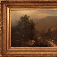 Carl Sommer (1829 – 1894): lone traveler - Oil on canvas, 19.25 x 35.25 inches/Signed lower left