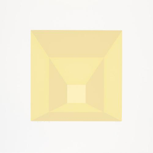 Josef Albers, Mitered Squares (L), 1976, Portfolio of twelve screenprints on Arches 88 rag mould-made paper, Paper 48.3 x 48.3cm, Image 28.6 x 28.6cm, Edition of 36.  Courtesy the artist and Alan Cristea Gallery
