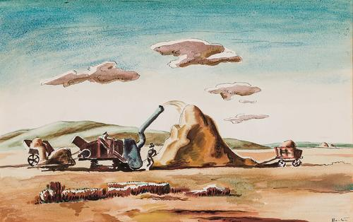 Watercolor on paper by Thomas Hart Benton (American, 1889-1975), titled Threshing Rice, circa 1920, signed, 12 inches by 19 ¼ inches (sight) (est.  $30,000-$50,000).