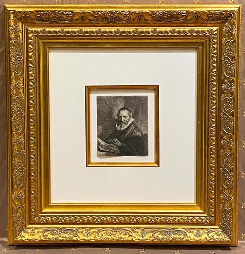 Early etching on paper by Rembrandt, of Jan Cornelis Sylvius (Eusticke's 1st State of 3, 1633), 6 ½ inches by 5 ½ inches (sight, less the double-matted frame) (est.  $15,000-$25,000).