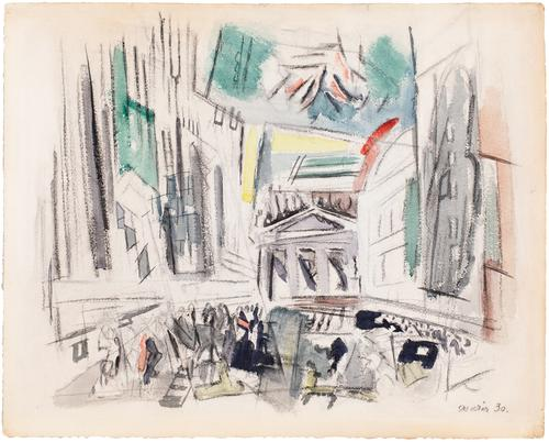 John Marin (1870-1953), Movement Broad St.  N.Y.C (aka Downtown-Vicinity of Wall St.), 1930, watercolor and charcoal on paper, 22 x 27 inches / 55.9 x 68.6 cm, signed