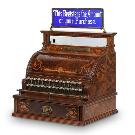 National Model 3 cash register, made in America in the 1890s, with rare cobalt cut-to-clear glass top sign and featuring radically burled walnut sides and rear panels (est.  CA$3,500-$4,500).