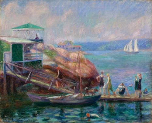 "William James Glackens, ""Boat Landing at Gloucester,"" 1918, oil on canvas.  Batten Collection."