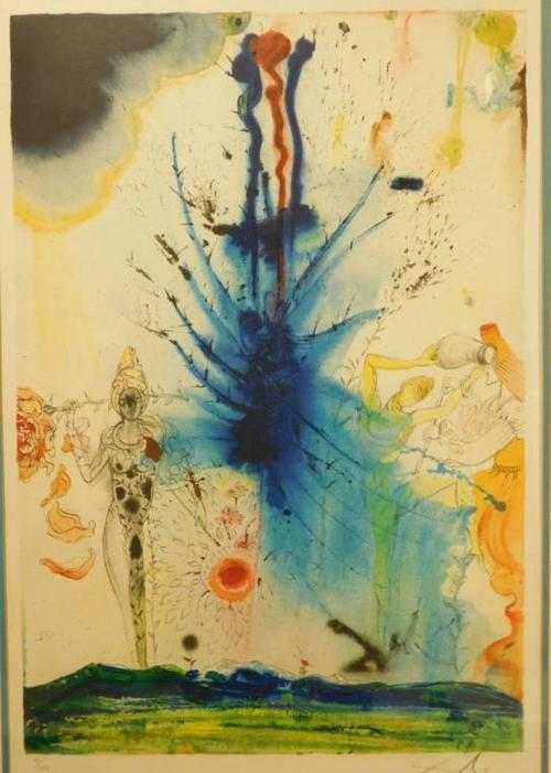 Signed lithograph by the Spanish surrealist Salvador Dali (1904-1989), titled Land of Milk and Honey, from his book The Aliyah (est.  $1,000-$2,000).