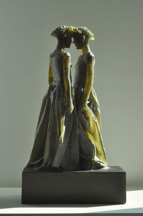 Nicolas Africano, Untitled (Double Female), 2011, cast glass, 28 x 16 x 10 inches, from Nancy Hoffman Gallery.