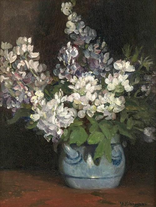 "MINERVA JOSEPHINE CHAPMAN (1858-1947) Lilacs Oil on canvas 16 x 12 ½ inches Signed lower right Inscribed ""Étude Fleurs"""